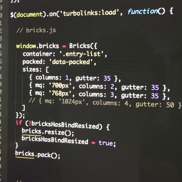 screenshot of bricks.js