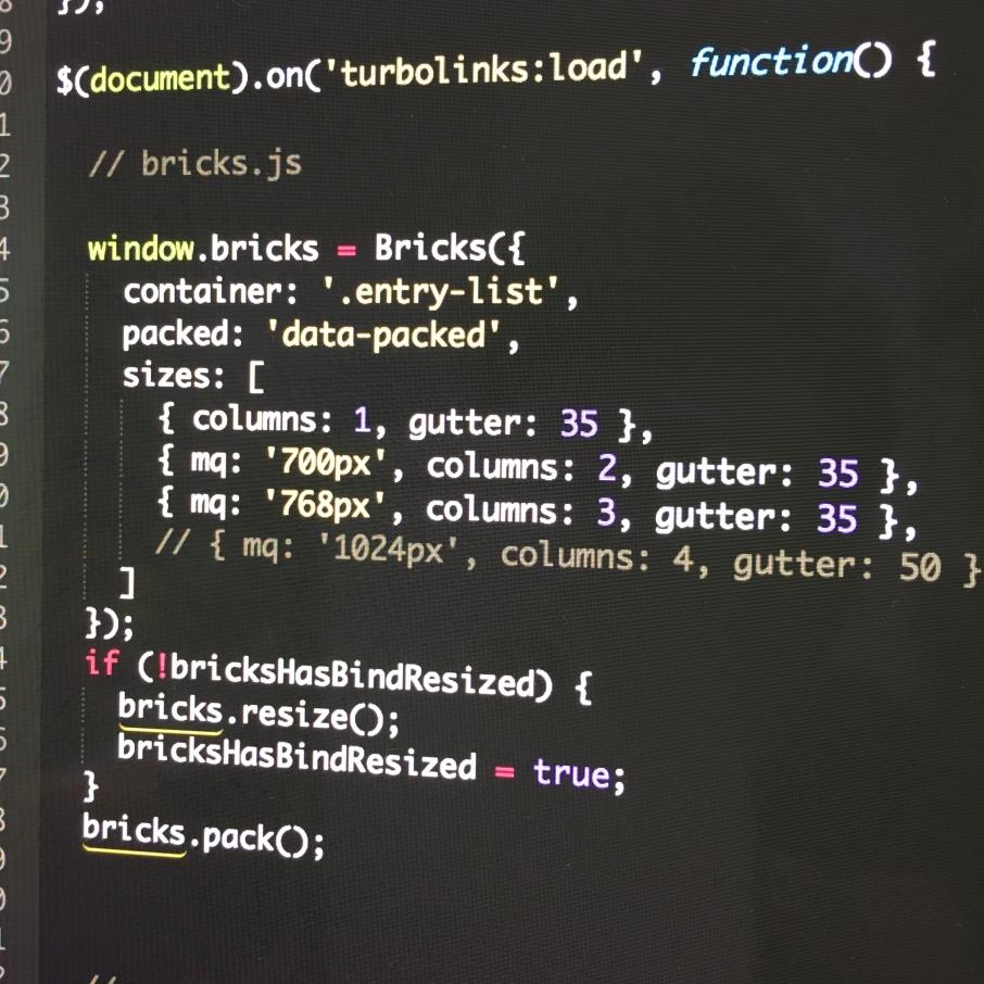 screenshot of bricks.js