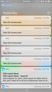 Every evening, Due app reminds me to take a screenshot of homescreen.