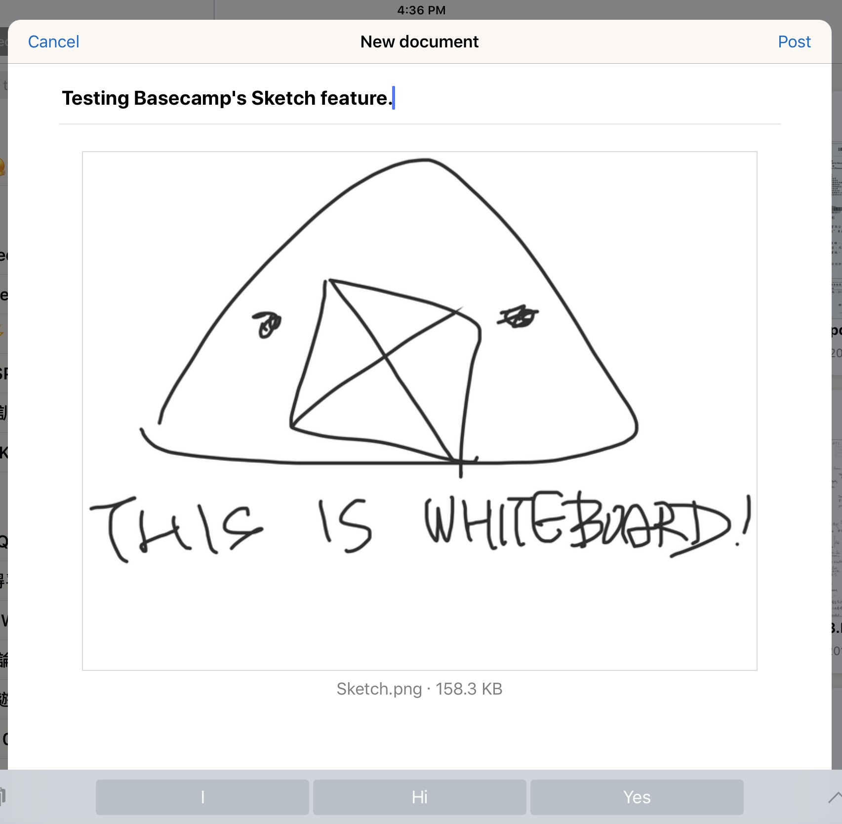 Testing Basecamp's sketch feature.
