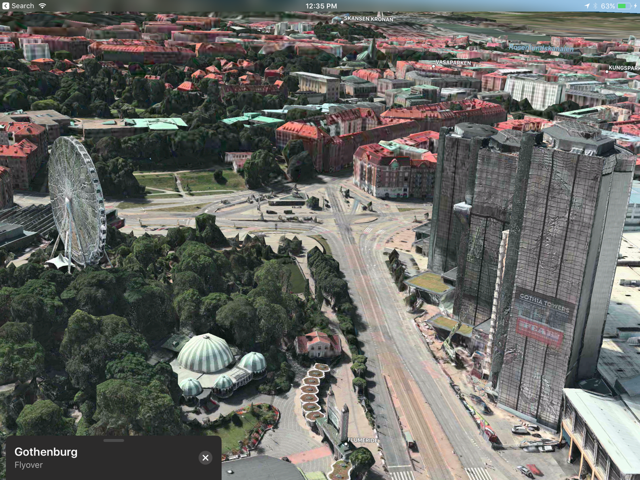 Traveling back to Gothenburg through Apple Map's flyover.