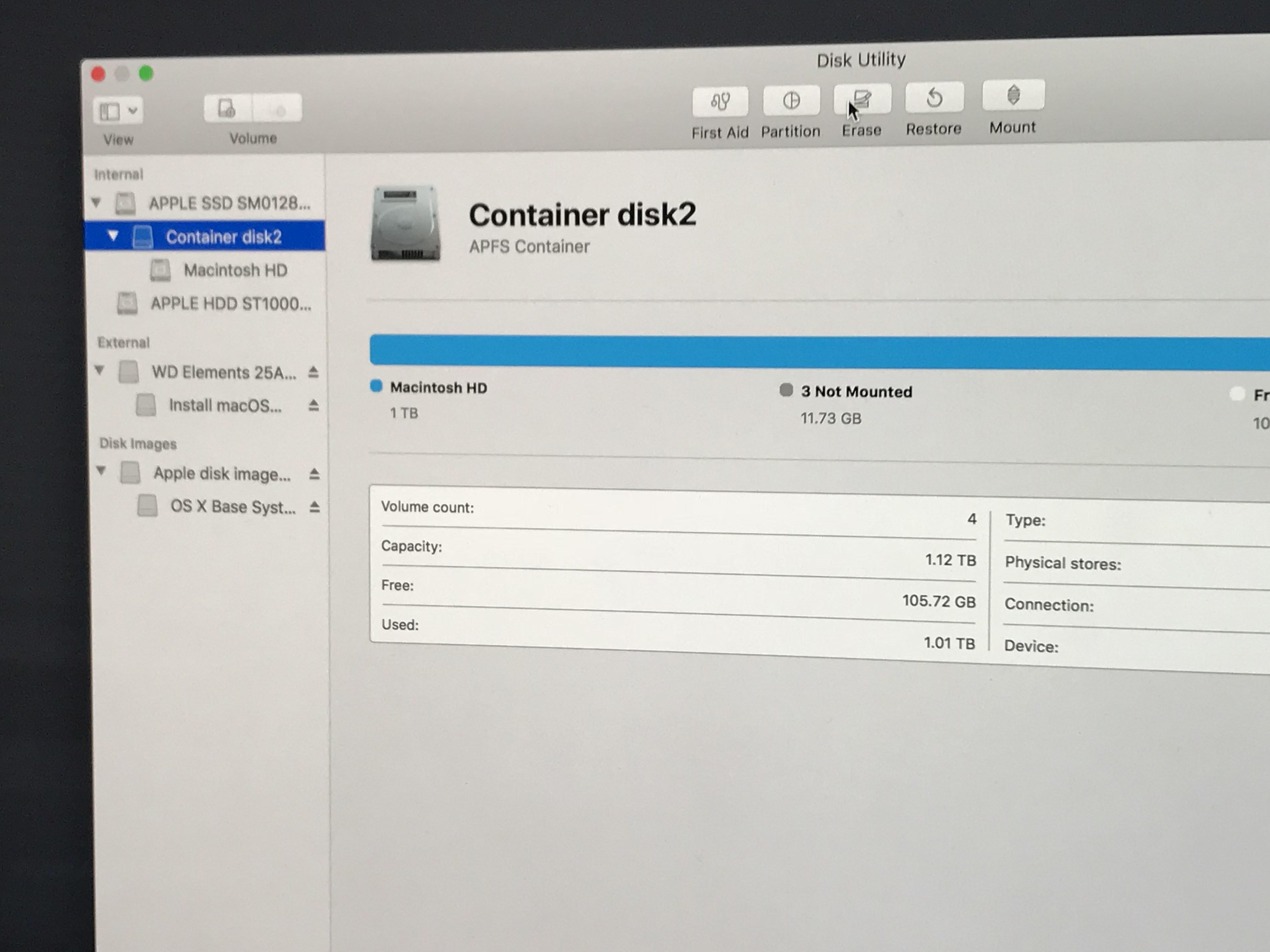 APFS container, erase.