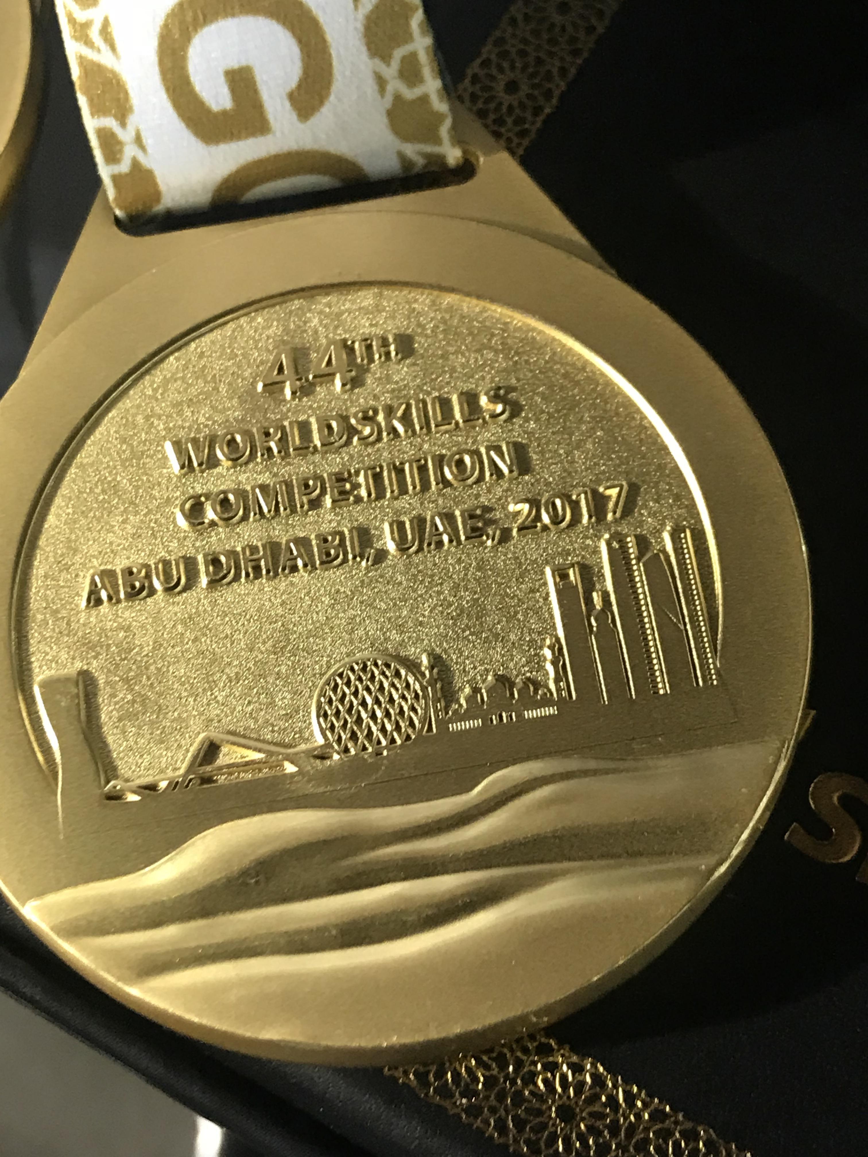 Web design gold medal in WorldSkills AbuDhabi.