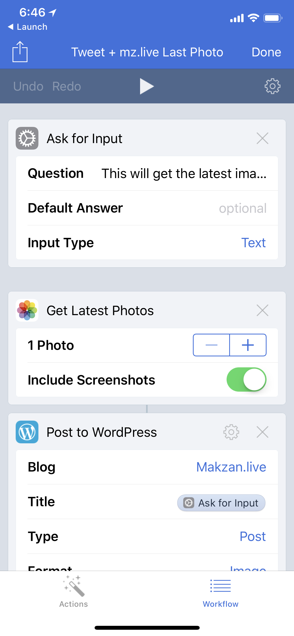 Setup a workflow to quick share latest photo tomakzan.live.