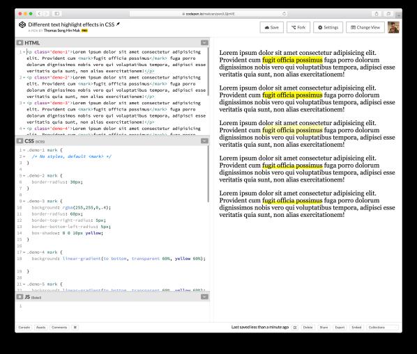 Screenshot of text highlight effects in codepen