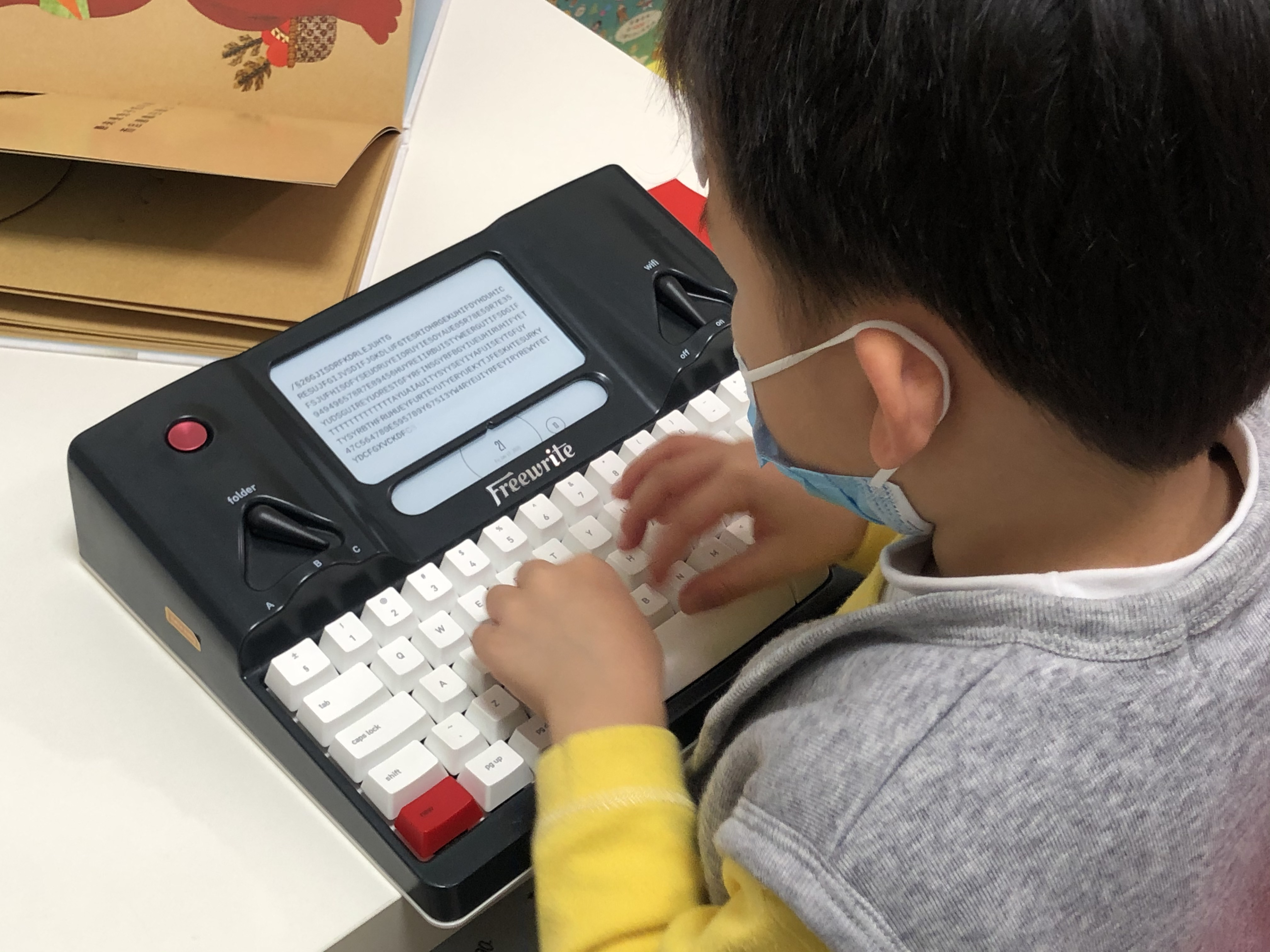 My son is typing my freewrite.